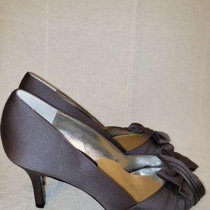 Nina Satin Heels Gray 7 Peeptoe Bow Pumps formal
